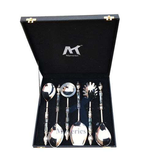 Maverics Black Mother of Pearl (MOP) with Round Emboss Aluminium Handle Serving Spoon (6 Piece)