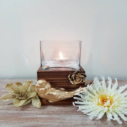 Glass T Light Holder with Wooden