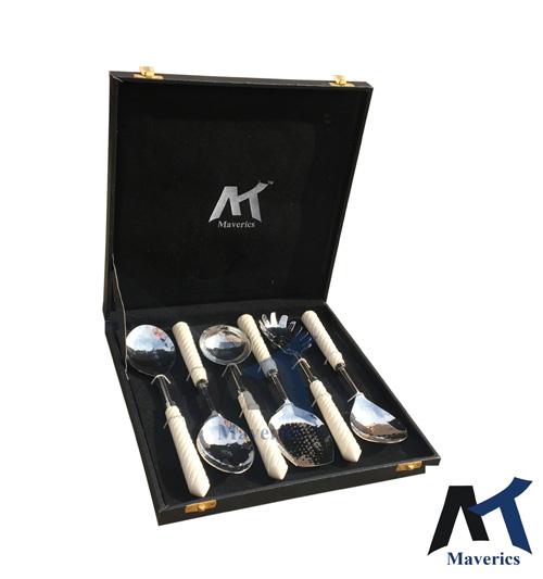 Maverics Resin White Handle Cutlery Feather Design Serving Spoons - Set of 6 pcs