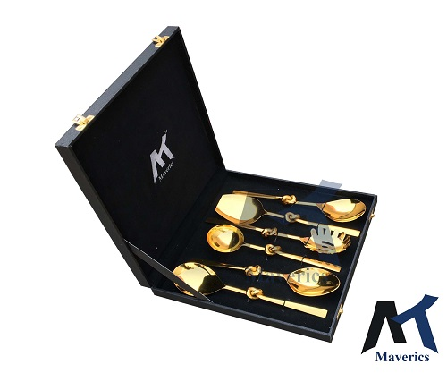 Maverics Knot Golden Cutlery Feather Design Serving Spoons - Set of 6 pcs