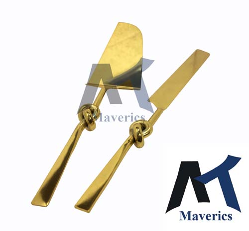 Maverics Cake Cutter Knife and Server Spatula Cutting Set of 2 | Single Knot Handle Design | Made with Brass (Gold Plated) | Pizza Knife Pie Server | Best for Gifting
