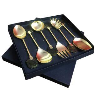 Maverics Gold Polished Classique Serves Designer Serving Spoon Set Gift Box | Flatware Cutlery Brown Raisin Coaster Handle Design | Made with Brass | Set of 6