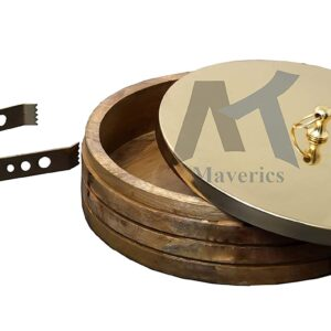 Maverics Stainless Steel SoLid Chapatti Box with Lid - 2500ml, Brown