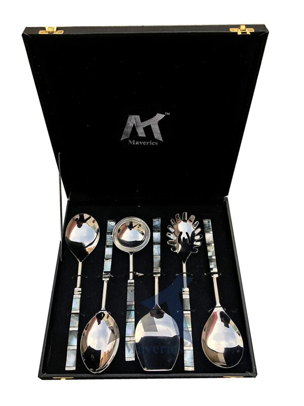 Maverics Designer Brass Seep Handle Design Serving Spoon Set of 6 Piece with Mother of Pearl in Black Gift Box