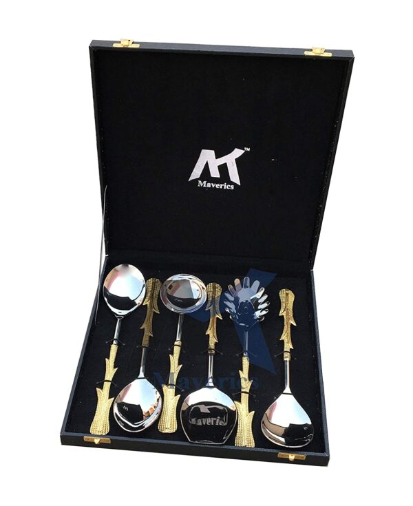 Maverics Gold Polished Classique Serves Designer Serving Spoon Set Gift Box | Flatware Cutlery with Multi Leaves Handle Design | Made with Brass | Set of 6