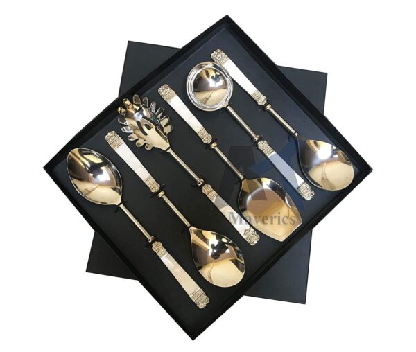 Maverics Designer Stainless Steel Serving Spoon Set of 6 Piece in Brass Mother of Pearl Design, Silver with Black Gift Box