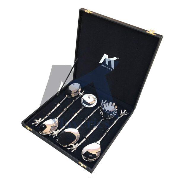 Maverics Designer Stainless Steel Serving Spoon Set of 6 Piece in Brass Bird Design, Silver with Black Gift Box