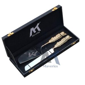 Maverics Cake Cutter Knife and Server Set of 2 | Single Leaf Handle Design | Made with Brass (Gold Plated) | Pizza Knife Pie Server | Best for Gifting