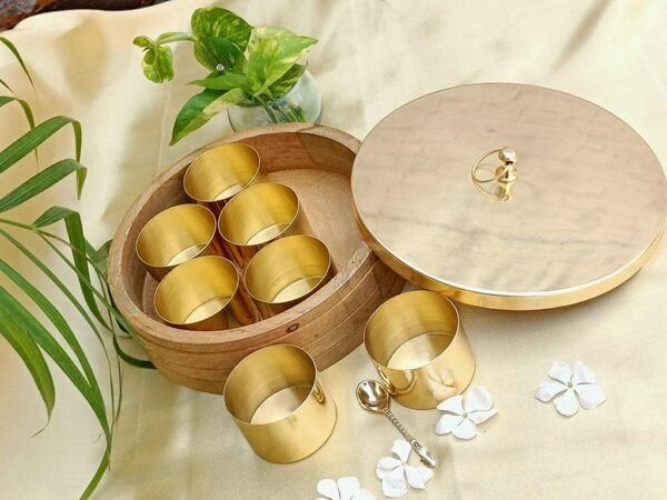 Maverics Wooden Spice/Masala Box Mango Wood Set for Kitchen with Spoon (7 Detachable Stainless Steel Containers, 60 ML Approx.)