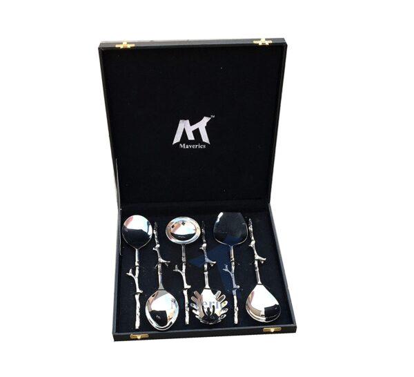 Maverics Brass Trunk Handle Design Serving Spoon Set of six pcs