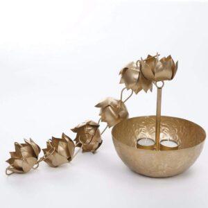 Maverics Brass Hanging Bowl with Flower Latkan (Golden)