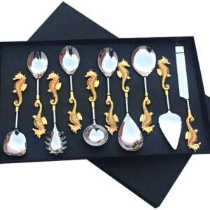 Maverics Dragon Design Aluminium Handle 7 inch Spoon Serving Set- 10 Pieces