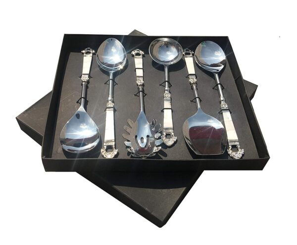 Maverics Mother of Pearl (MOP) Taj Design Brass Handle Serving Spoon with Silver Finished