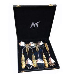 Maverics Pure Brass Handmade Leaf Handle Serving Spoon Set of 6 Piece with Black Gift Box (Gold)