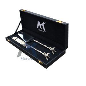 Maverics Brass Antique Handle Silver Nickel Finished Cake Server & Cake Knife Set of Two pcs